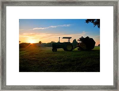 Sunrise Tractor Framed Print