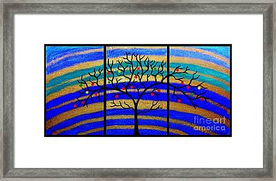 Sunrise Tree - Abstract Oil Painting Original Metallic Gold Textured Modern Contemporary Art Framed Print by Emma Lambert