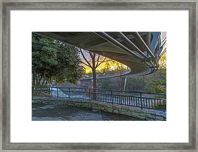 Sunrise Under Liberty Bridge At Falls Park Greenville Sc Framed Print