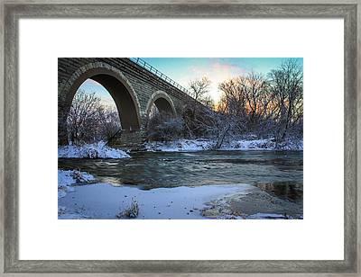 Sunrise Under The Bridge Framed Print