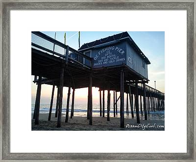 Sunrise Under The Oc Fishing Pier Framed Print