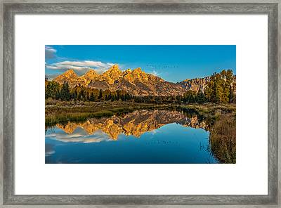 Sunrise Vision At The Grand Tetons Framed Print by Yeates Photography