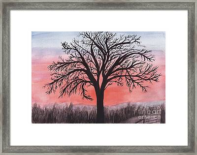 November Sunrise Walnut Tree Watercolor Framed Print