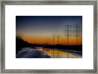 Sunrise Winter Reflection Framed Print
