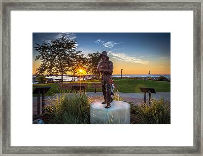 Sunrise With The Fisherman Framed Print