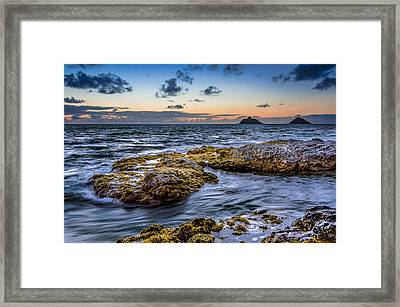 Sunrise With The Mokulua Also Know As Mokes Island Framed Print