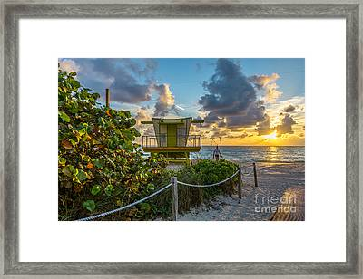 Sunrise Workout Return - Lifeguard Station - Miami Beach Framed Print by Ian Monk