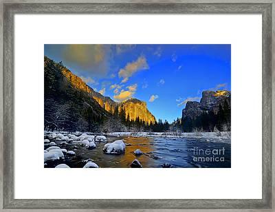 Sunrise Yosemite Valley Framed Print by Peter Dang