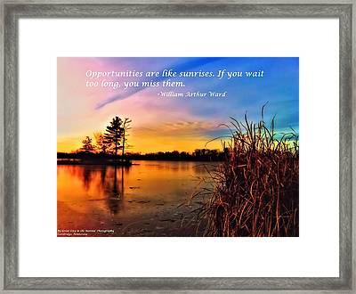 Sunrises Framed Print by Michelle and John Ressler