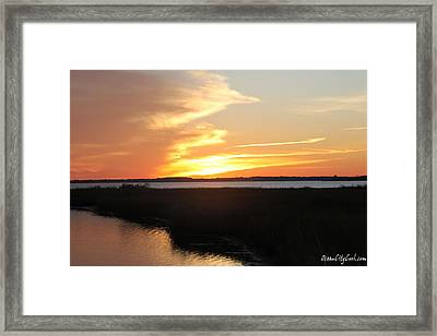 Framed Print featuring the photograph Sun's Cloudy Fire by Robert Banach