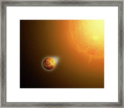 Sun's Gravitational Pull On Venus Framed Print by Mikkel Juul Jensen