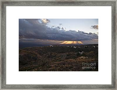 Suns Rays After Sunrise From Jerome Arizona Framed Print