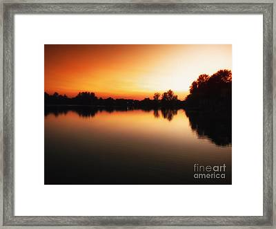 Sunset A Lake In Mansfield Il Framed Print by Thomas Woolworth