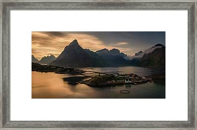 Sunset Above Sakrisoya Village Framed Print by Panoramic Images