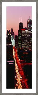 Sunset Aerial Michigan Avenue Chicago Framed Print by Panoramic Images