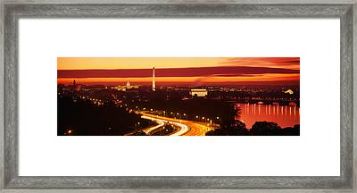 Sunset, Aerial, Washington Dc, District Framed Print