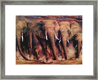 Sunset African Giants Framed Print