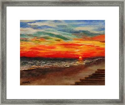 Sunset After Sandy Framed Print by Annie St Martin