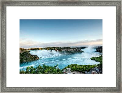 Sunset American And Canadian Falls At Niagara  Framed Print by Marek Poplawski