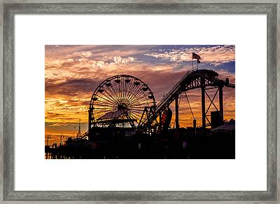 Sunset Amusement Park Farris Wheel On The Pier Fine Art Photography Print Framed Print