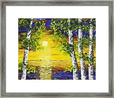 Sunset And Birch Trees Palette Knife Painting Framed Print by Keith Webber Jr