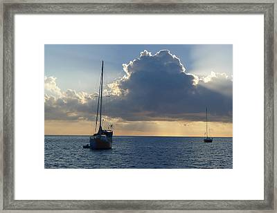 Sunset And Boats - St. Lucia Framed Print