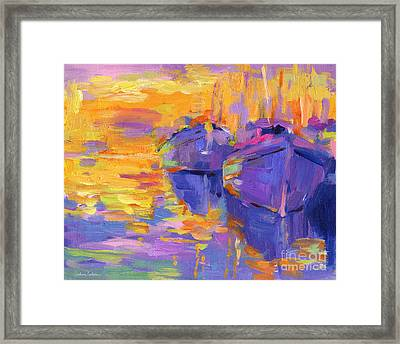 Sunset And Boats Framed Print