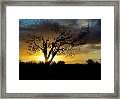 Sunset And Clouds. Framed Print by Joyce Woodhouse