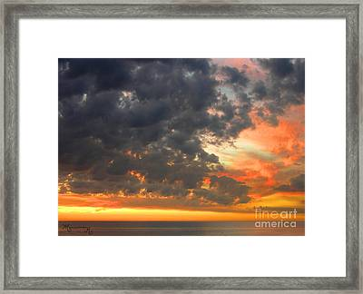 Sunset And Clouds Framed Print by Mariarosa Rockefeller