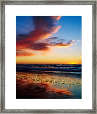 Sunset And Clouds Over Pacific Ocean Framed Print by Panoramic Images