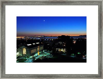Sunset And Crescent Moon Over Campus Framed Print
