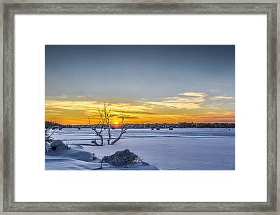 Sunset And Ice Shanties Framed Print by Randy Scherkenbach