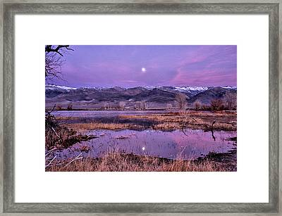 Sunset And Moonrise At Farmers Pond Framed Print by Cat Connor