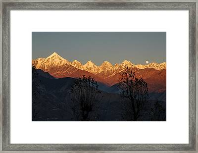 Sunset And Moonrise. The Rendezvous. Framed Print