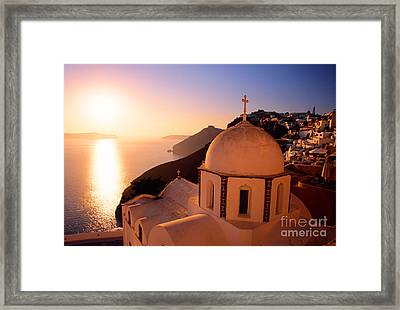 Sunset And Orthodox Church Framed Print by Aiolos Greek Collections