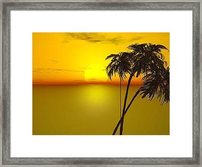 Sunset And Palms Framed Print by John Vito Figorito