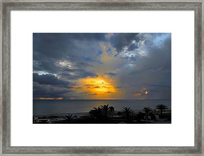 Sunset And Rain Framed Print by Mariarosa Rockefeller