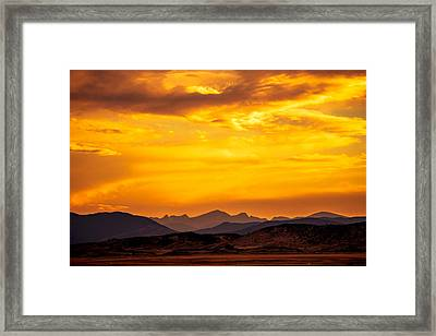 Sunset And Smoke Covered Mountains Framed Print by Rebecca Adams