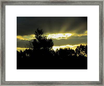 Sunset And Storm Clouds Framed Print by Joyce Woodhouse