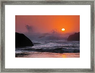 Sunset And Surf At Seal Rock, Seal Framed Print by Michel Hersen