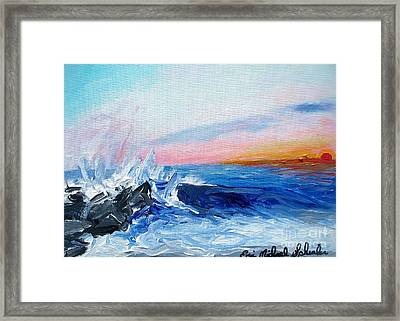 Sunset And Waves At West Cape May Framed Print by Eric  Schiabor