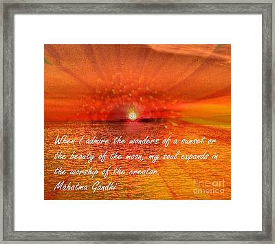Sunset And Worship Of The Creator By Saribelle Rodriguez Framed Print by Saribelle Rodriguez