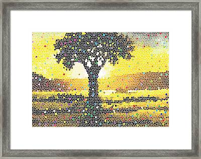 Framed Print featuring the painting Sunset Beauty by Anthony Mwangi