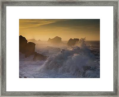Sunset. Arnia. Cantabria. Spain Framed Print