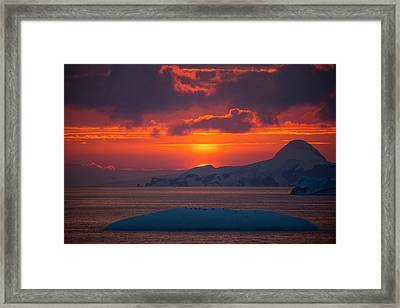 Sunset At 11pm In Antarctica Framed Print by Peter Menzel
