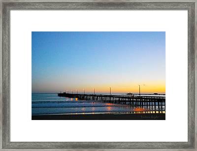 Sunset At Avila Beach Pier Framed Print