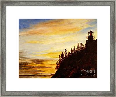 Framed Print featuring the painting Sunset At Bass Harbor by Lee Piper