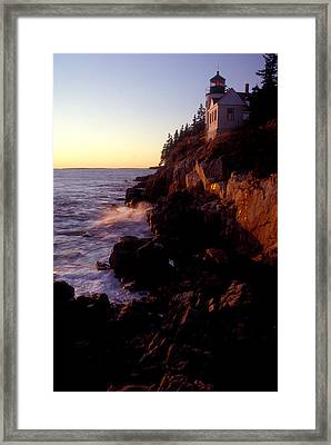 Sunset At Bass Harbor Lighthouse Framed Print by Brent L Ander