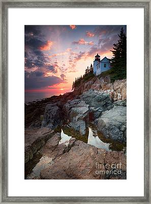 Sunset At Bass Harbor Lighthouse Framed Print by Jane Rix