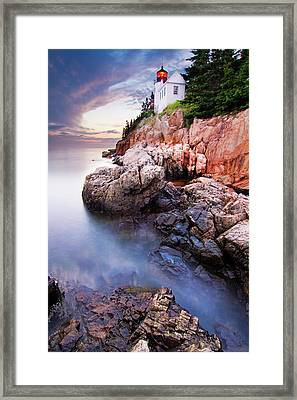 Sunset At Bass Harbor Lighthouse Framed Print